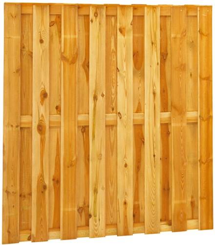 Grenen geschaafd plankenscherm 18-planks 13 mm, 180x180cm recht, groen geïmpregneerd (W08235)