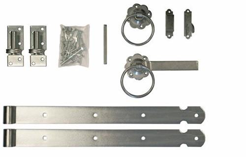 Traditioneel klinkstel met hengen en duimen, t.b.v. houten deuren en hekpoorten (W19013)
