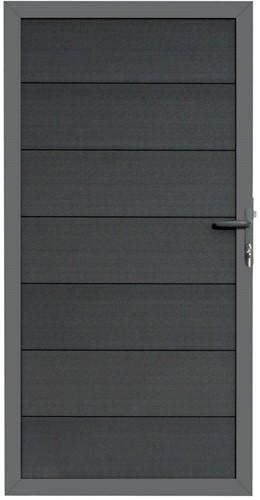 Composiet deur antraciet 90x180cm met vast frame en antracietkleurige planken (W23621)