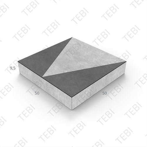 Verkeerstegel 50x50x9,5cm driehoek zwart/wit