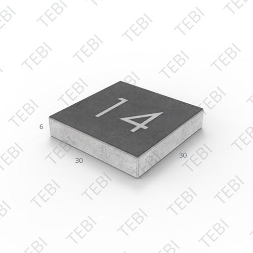 Symbooltegel 30x30x6cm - 2 cijfers Zwart