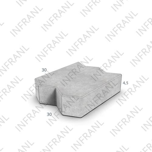Visbektegel KOMO 30x30x4,5cm grijs