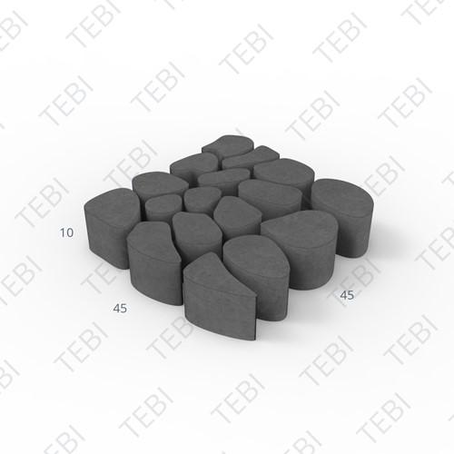 Keigrassteen 45x45x10cm zwart