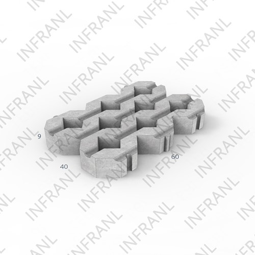 Grastegel 40x60x9cm grijs