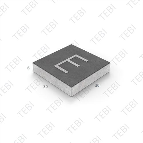 Symbooltegel 30x30x6cm - 1 letter 15cm zwart/wit
