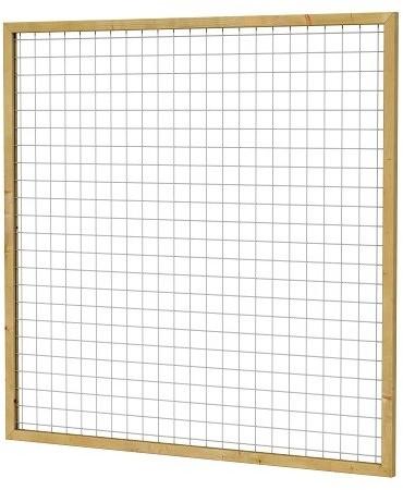 Eco gaastrellis met maas 7,5x7,5 cm, in grenen raamwerk 4,5x4,5 cm, 180x180 cm, groen geïmpregneerd (W08325)