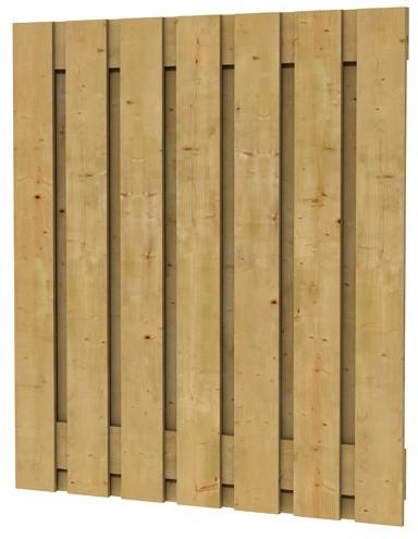 Grenen fijnbezaagd plankenscherm 15-planks 20 mm, 180x200 cm, verticaal recht, groen geïmpregneerd (W08070)