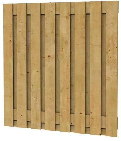 Grenen fijnbezaagd plankenscherm 17-planks 17 mm, 180x180 cm, verticaal recht, groen geïmpregneerd (W08075)