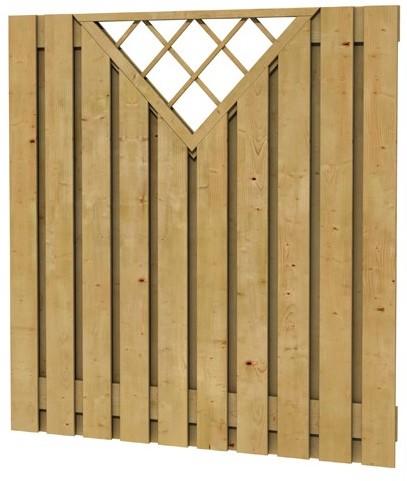 Grenen geschaafd plankenscherm 21-planks 17 mm, 180x180 cm, verticaal recht met trellis, groen geïmpregneerd (W08114)