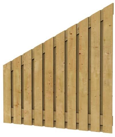 Grenen geschaafd plankenscherm 21-planks 17 mm, 180x180/90 cm, verticaal recht aflopend, groen geïmpregneerd (W08111)