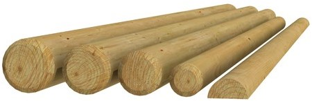 Ronde paal cilindrisch gefreesd 1 zijde gepunt 1 zijde gekroond, Ø 6x200cm (W04015)