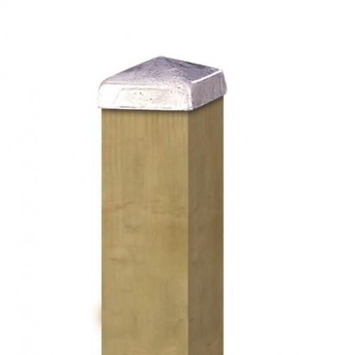 Paalornament piramide 9x9cm metaal verzinkt (W19504)