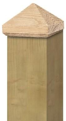 Paalornament piramide 9x9cm hout (W19518)