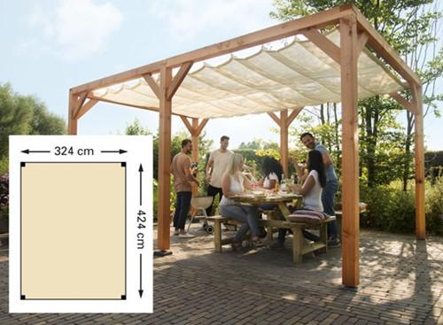 Douglas houtpakket 324x424cm t.b.v. schaduwdoek 290x400cm kleurloos geïmpr. (W12403)