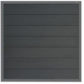 Composiet scherm antraciet 180x180cm met vast frame en antracietkleurige planken (W23611)