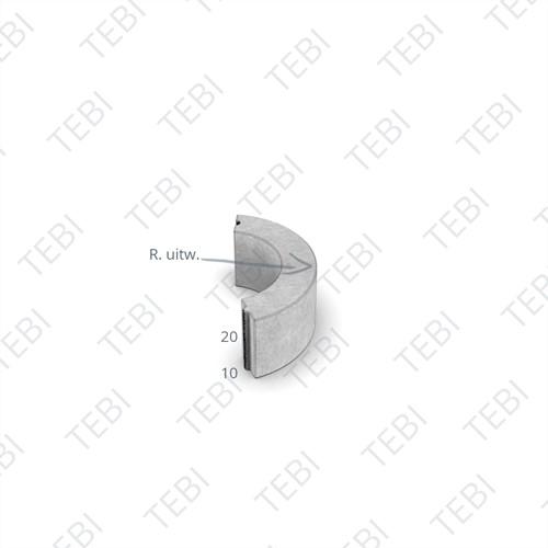 Bochtstuk 10x20cm R=1 zwart