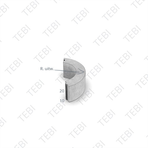 Bochtstuk 10x20cm R=3 zwart
