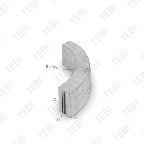 Bochtstuk 13/15x25cm R=4 Uitw uitgew zwart