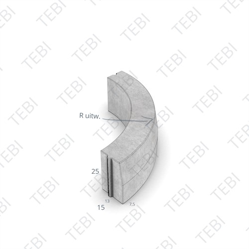 Bochtstuk 13/15x25cm R=8 Inw grijs