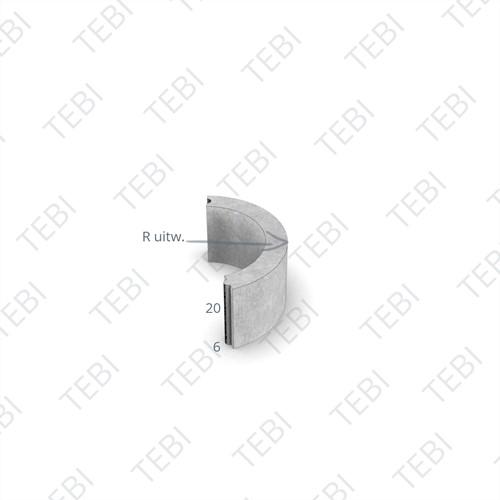 Bochtstuk 6x20cm R=10 grijs