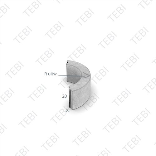 Bochtstuk 8x20cm R=1 grijs