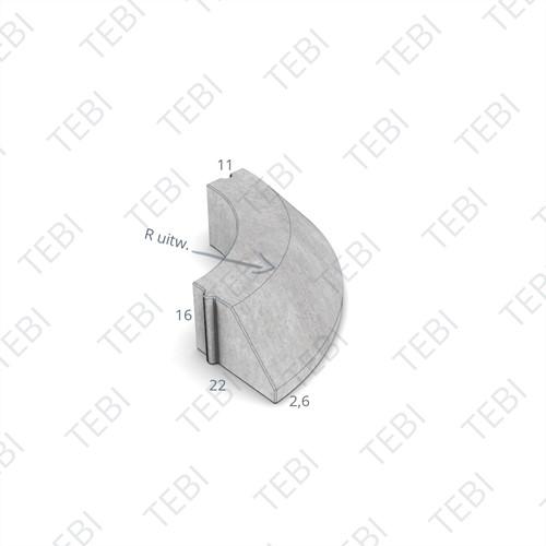 Bochtstuk 11/22x16cm Uitw. R=2.5 grijs
