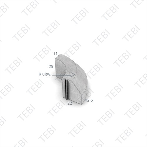 Bochtstuk 11/22x25cm Uitw. R=0,745 grijs