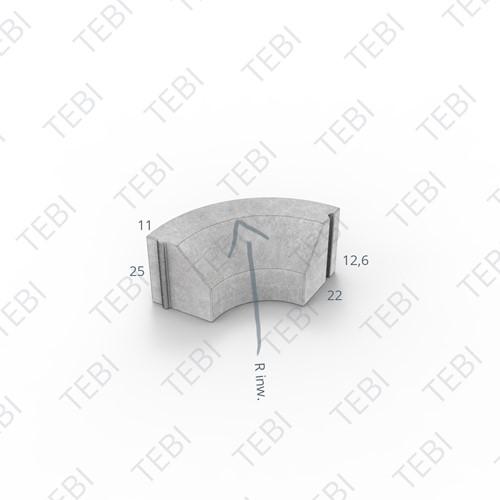 Bochtstuk 11/22x25cm Inw. R=15 grijs