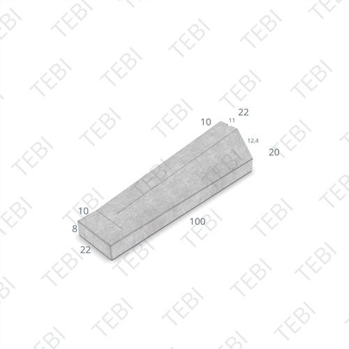 Eindverloopband 11/22x20x100cm - maaiveld grijs