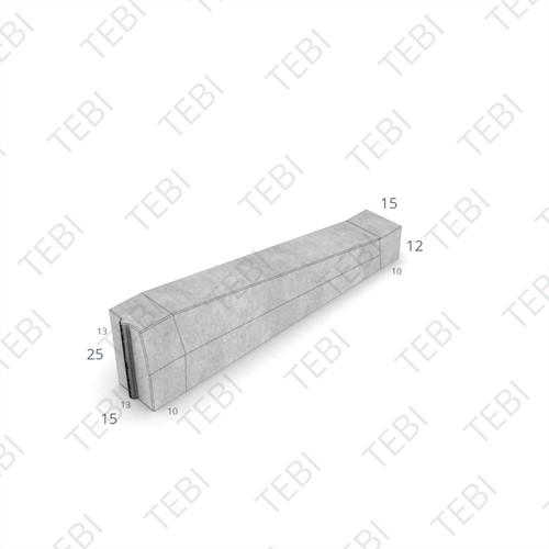 Eindverloopband maaiveld - 13/15x25x100cm grijs