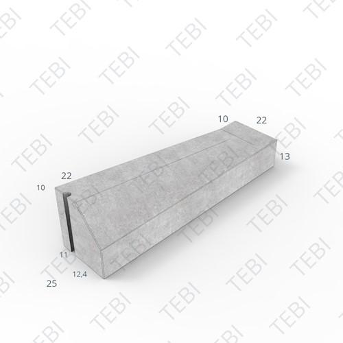 Eindverloopband 11/22x25x100cm - maaiveld grijs