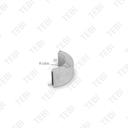 Gazonbocht 10x20cm R=0,5 uitw. grijs