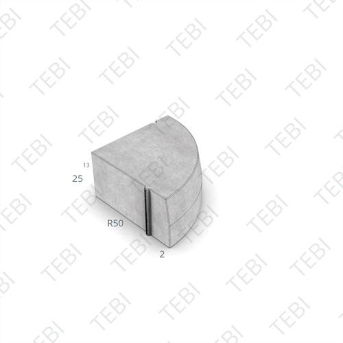 Hoekblok 18/20x25cm Uitw R=50 grijs