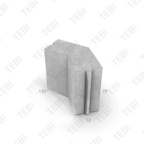 Hoekstuk 12x25cm 135º grijs