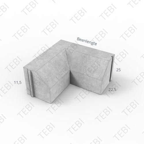 Hoekstuk RWS 11/22x25cm 90º Inw grijs