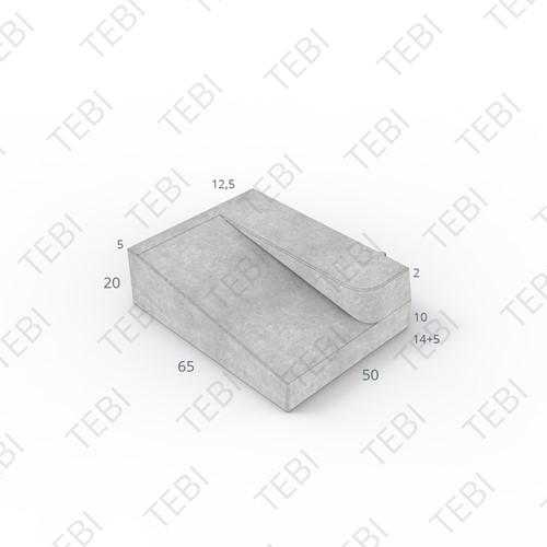 Inritband 65x50x20cm grijs rechts