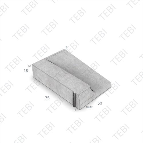 Inritband 75x50x18cm grijs links