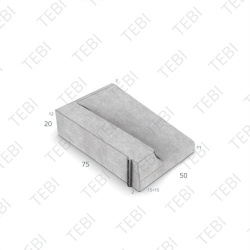 Inritband 75x50x20cm grijs links