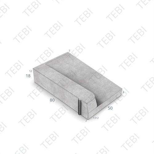 Inritband 80x50x18cm grijs links