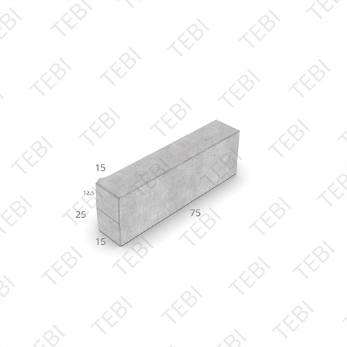 Inritperronband 13/15x25x75cm grijs links