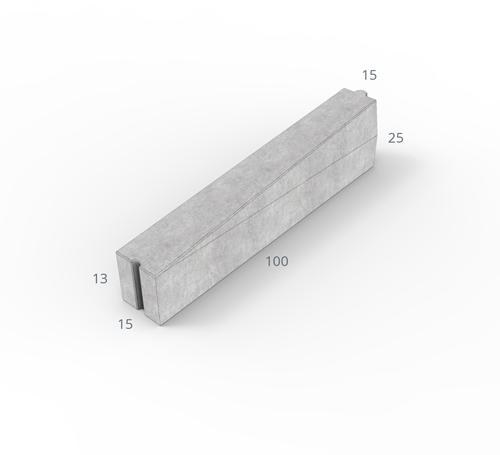 Inritverloopband 13/15x25/13x100cm grijs rechts