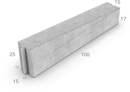 Inritverloopband 13/15x25/17x100cm grijs links