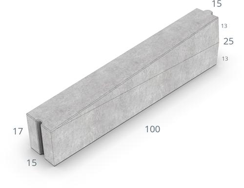 Inritverloopband 13/15x25/17x100cm grijs rechts