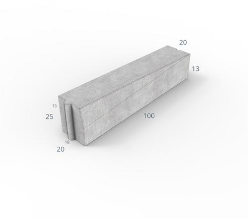 Inritverloopband 18/20x25/13x100cm grijs links