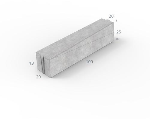 Inritverloopband 18/20x25/13x100cm grijs rechts