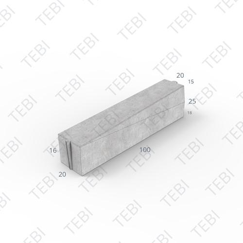 Inritverloopband 18/20x25/15x100cm grijs rechts