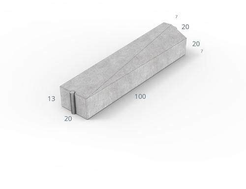 Inritverloopband 7/20x20x100cm grijs rechts