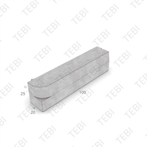 Inritperronband 18/20x25x100cm grijs L