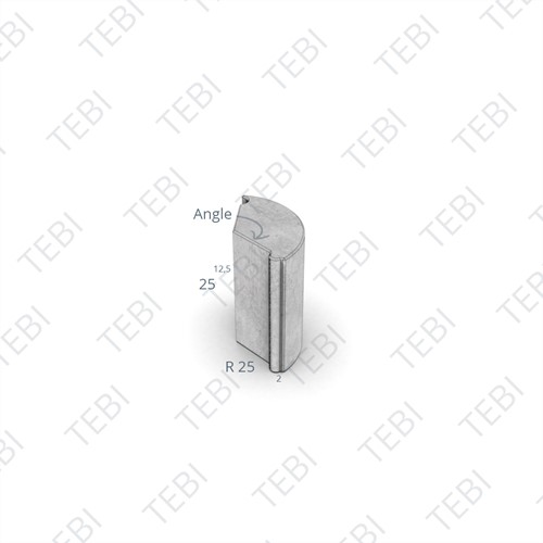 Puntstuk 13/15x25cm Uitw grijs R=0,30 180º