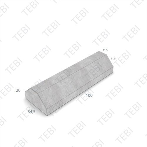 Scheidingsband 11,5/34,5x14x100cm grijs vlak eindstuk